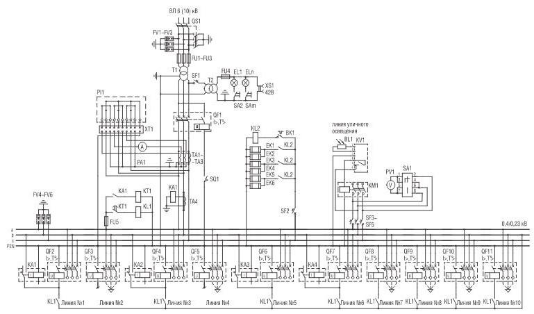 Схема электрическая принципиальная КТПТАС мощностью 630 кВА