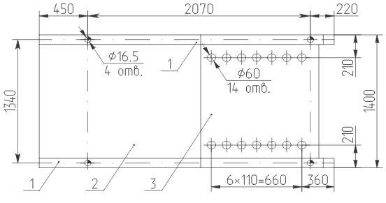 Разметка отверстий в КТПТАС мощностью 630 кВА для крепления на фундаменте и ввода кабелей НН